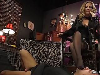 Extraordinary hot blonde dominatrix anal pounds bound masculine sub