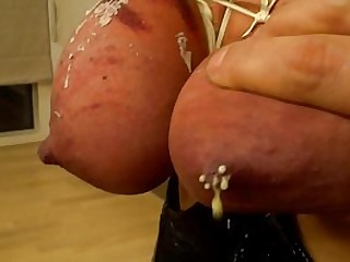 Harassment tit torture for slave chick