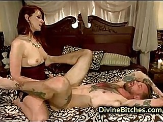 Bound guy in bed fucked with strapon plaything