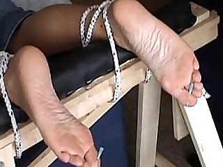 Extreme foot fetish and soles needle Domination & submission of mature amateur slave girl in harsh m