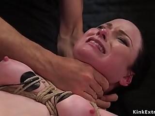 Obedient dark haired victim Veruca James suffers extreme restrain bondage in 3 way training