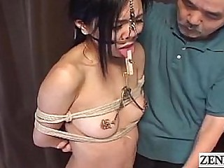 Extreme Japanese BDSM with nose hooks and forceps Subtitled