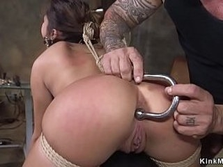 Antique dealer Isabella Nice completed in rope bondage by angry customer and then anal pounded