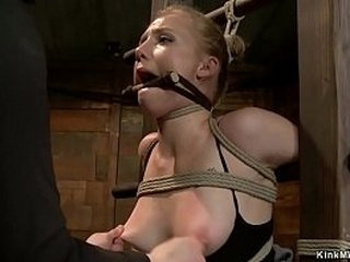 Gagged ash-blonde lesbian slave Tracey Delicious is tied in back arch upside down position and gets pussy vibrated by lezdom Claire Adams on frog-tie