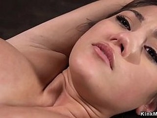 Hairy pussy dark haired beauty in rope bondage finger fucked and vibrated