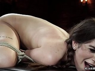 Hairy pussy gagged brunette slut is gagged in bondage then takes hogtie suspension and pussy finger fuck in dungeon