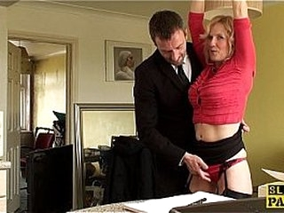 Mature uk sub gets cuffed and predominated over