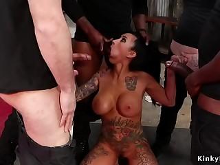 Big tits alt beauty interracial gangbang