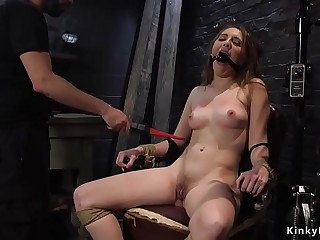 Butt plugged slave gets pussy pounded