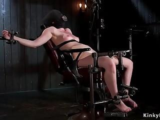 Brunette slave pricked against floor