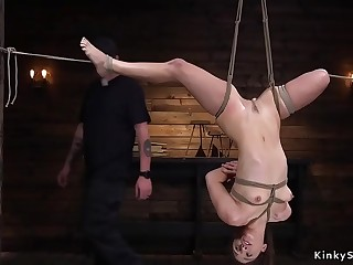 Beautiful slave used for upside down suspension