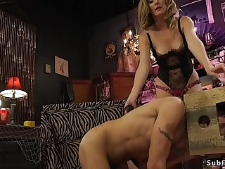 Glamorous mistress anal fucks male slave