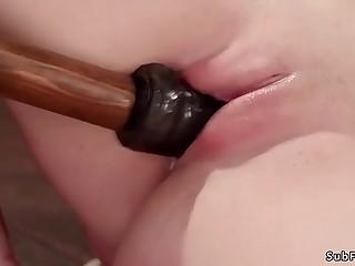 Masked master fucking brunette slave