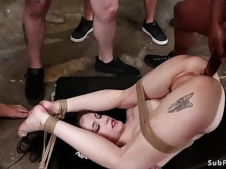 Five workers fucking babe in bondage