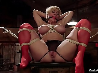 Slaves in dungeon whips and fucks each other