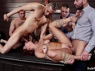 Students push and fucks teacher in bondage