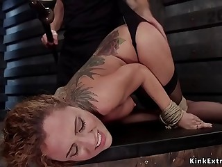Curly brunette slave anal fuck training