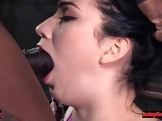 Hot bdsm chick choking on dick