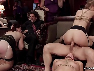 Hot babes whipped and fucked at orgy party
