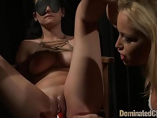 Blindfolded babe punished by her masters