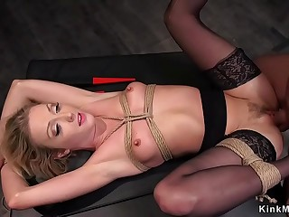 Tied up sub fucked in various positions