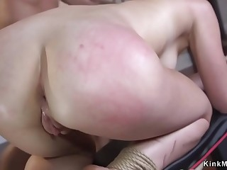 Blonde sub gets anal and facial cumshot
