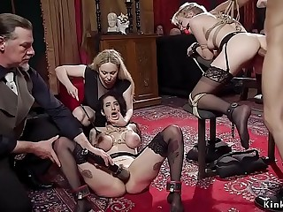 Anal fucking and lesbian tormenting orgy