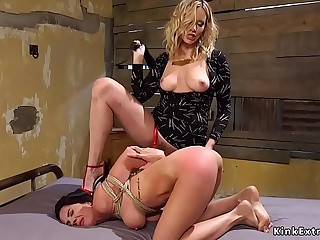 Light-haired whips ass to busty waitress