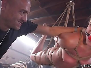 Blonde estate agent gagged and anal boned