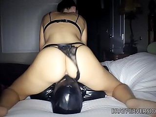 Face Fucking her Male Sub