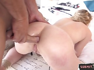 Assfucked and facialized beauty gets disciplined