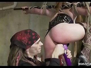 Pretty Blonde Hog tied And Suspended From The Ceiling For Dominant Masters Lovemaking Toy Test Party